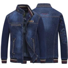 Áo Jacket Denim Nam kéo khóa